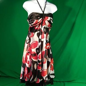 Bisou bisou strapless red black tie dress